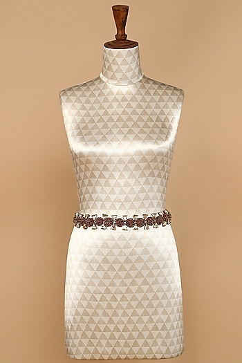 Red Beads Embellished Belt by Tarun Tahiliani