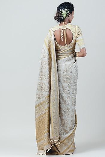 Beige & Gold Chikankari Embroidered Saree Set by Tarun Tahiliani