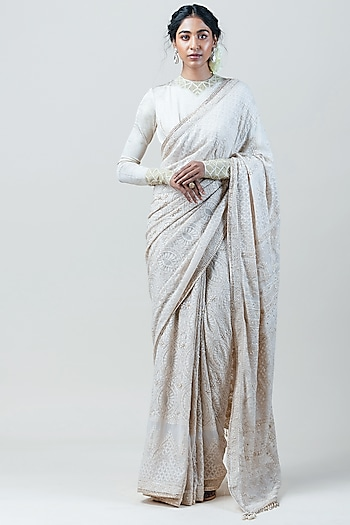 Ivory Chikankari Embroidered Saree Set by Tarun Tahiliani
