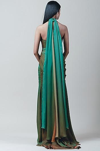 Green Ombre Draped Concept Saree by Tarun Tahiliani