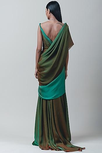 Green Ombre Draped Saree With Fluting by Tarun Tahiliani