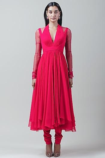Hot Pink Dress With Churidaar Pants by Tarun Tahiliani