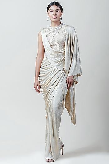 Ivory Embroidered Concept Saree by Tarun Tahiliani