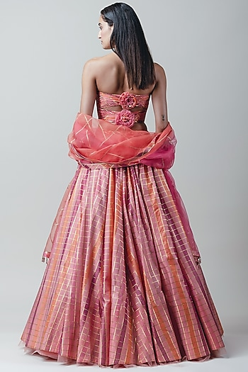 Pink Draped Lehenga Set by Tarun Tahiliani