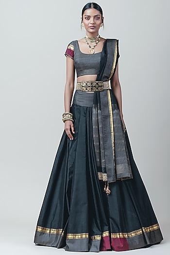 Black Pleated Lehenga Set by Tarun Tahiliani