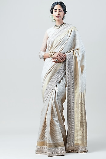 Ivory Hand Embroidered Saree Set by Tarun Tahiliani