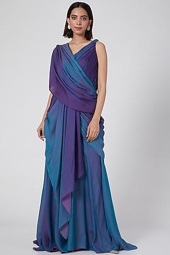 Blue Ombre Draped Concept Saree by Tarun Tahiliani