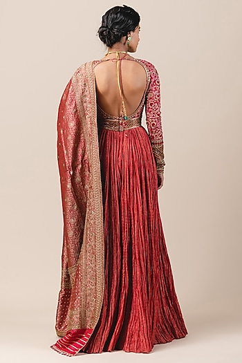 Crimson Red Resham Embroidered Anarkali Set by Tarun Tahiliani