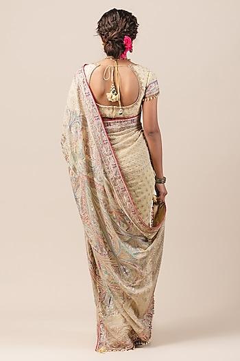 Pale Yellow Chikankari Saree Set by Tarun Tahiliani