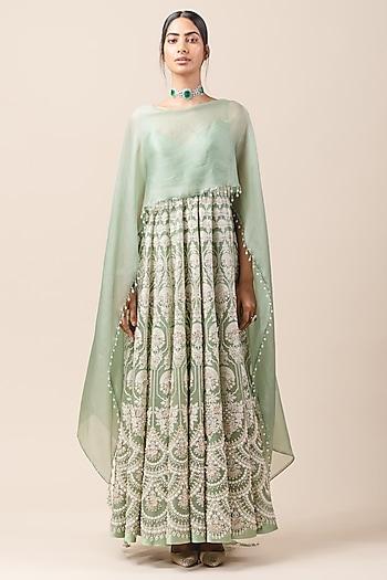 Green Anarkali Set With Attached Drape by Tarun Tahiliani