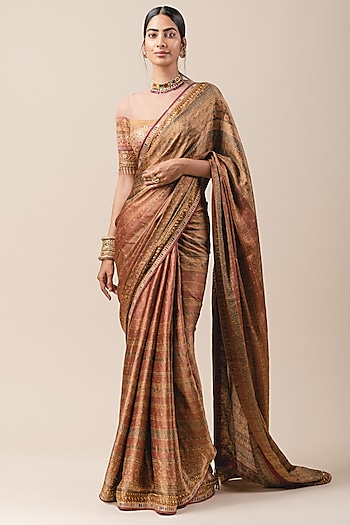 Red Embroidered Saree Set by Tarun Tahiliani