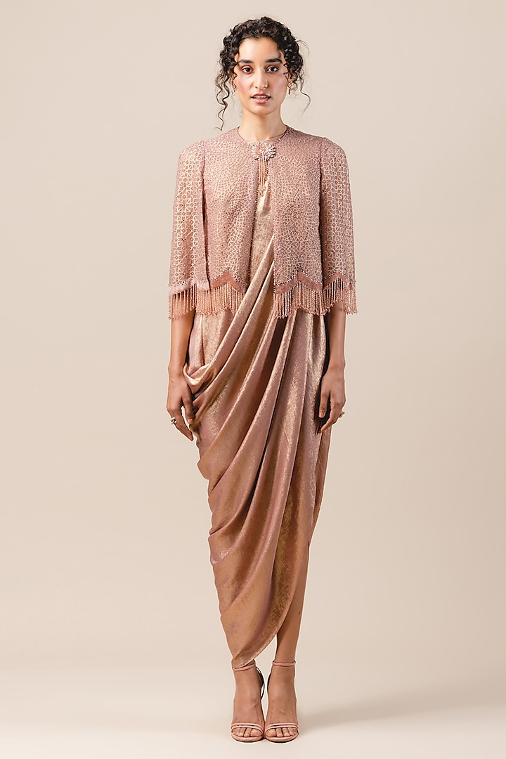 Old Rose Draped Dress With Embellished Cape by Tarun Tahiliani