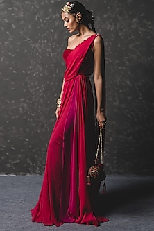 Crimson Red Embellished Draped Concept Saree by Tarun Tahiliani