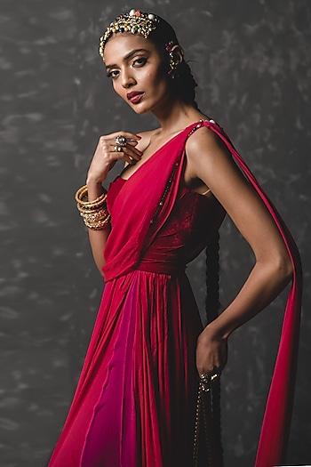 Crimson Red Embellished Draped Concept Saree by Tarun Tahiliani