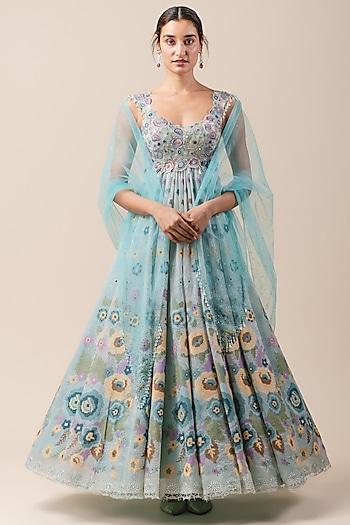 Aqua Blue Embroidered Anarkali Set by Tarun Tahiliani