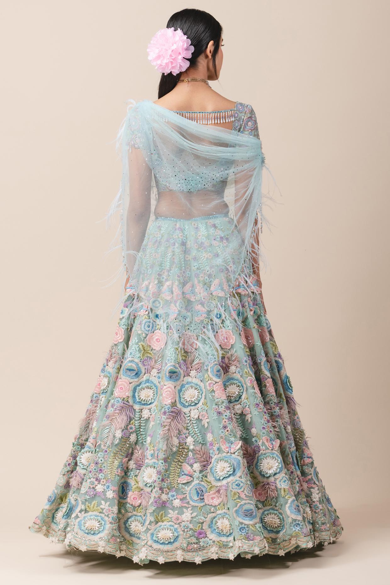 Aqua Blue Embroidered Lehenga Set by Tarun Tahiliani