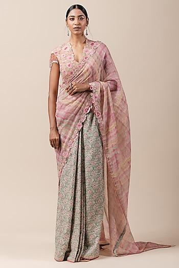 Multi Colored Hand Painted Saree Set by Tarun Tahiliani