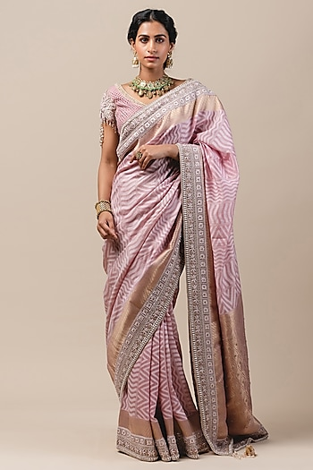 Blush Pink Hand Embroidered Saree Set by Tarun Tahiliani