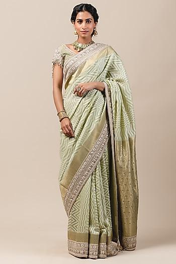 Mint Green Hand Embroidered Saree Set by Tarun Tahiliani