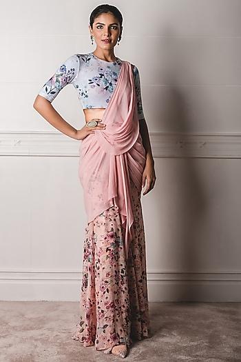 Blush Pink & Blue Printed Draped Saree Set by Tarun Tahiliani