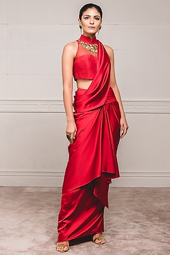 Red Embellished Draped Concept Saree Set by Tarun Tahiliani