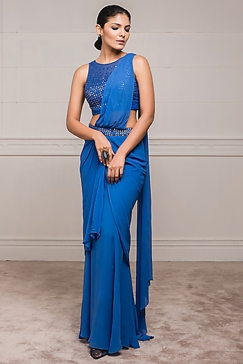 Midnight Blue Embroidered Draped Saree Set by Tarun Tahiliani
