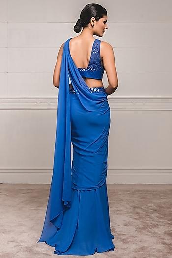 Midnight Blue Embroidered Draped Saree Set by Tarun Tahiliani