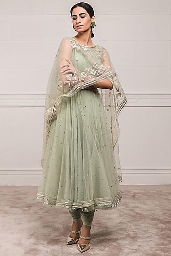 Sage Green Anarkali Set With Attached Dupatta by Tarun Tahiliani