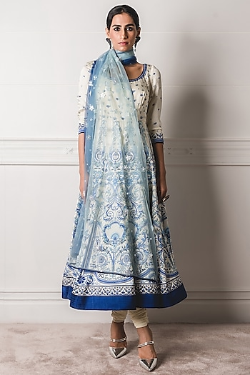 Blue & White Printed Anarkali Set by Tarun Tahiliani