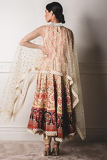 Pink & White Kalidar Anarkali Set by Tarun Tahiliani