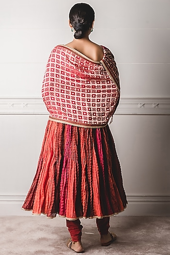 Multi Colored Crinkled Anarkali Set by Tarun Tahiliani