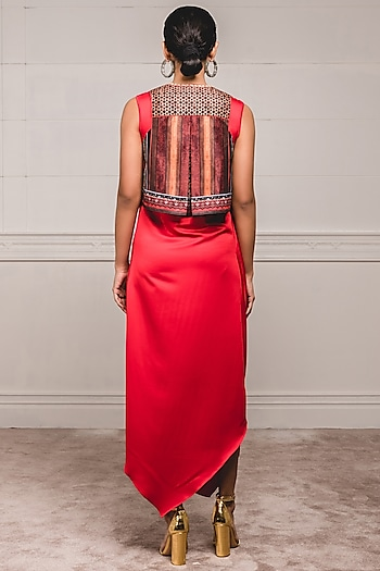 Red Dress With Embroidered Gilet by Tarun Tahiliani