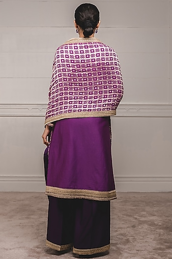 Multi Colored Embellished A-Line Anarkali Set by Tarun Tahiliani
