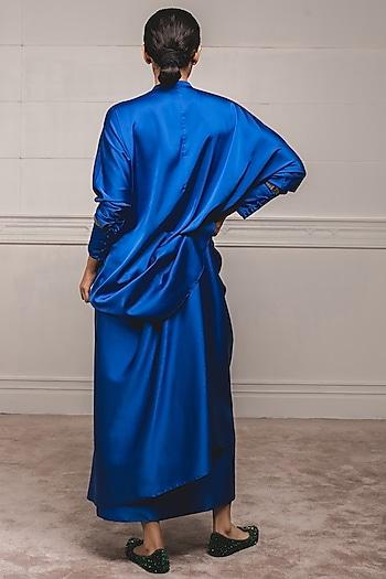 Cobalt Blue Shirt Top With Draped Skirt by Tarun Tahiliani