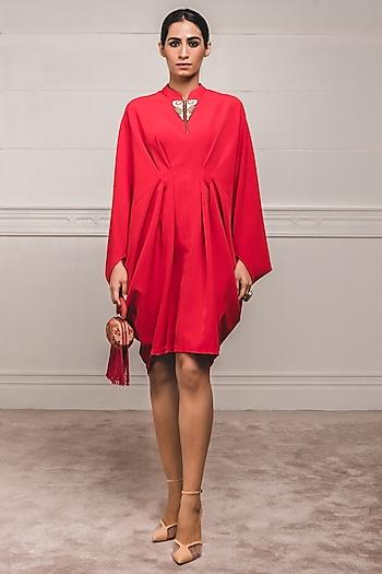 Red Embroidered & Draped Tunic by Tarun Tahiliani