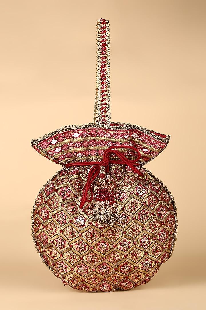 Maroon Swarovski Embroidered Potli by Tarun Tahiliani