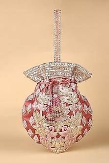 Old Rose Hand Embroidered Potli by Tarun Tahiliani