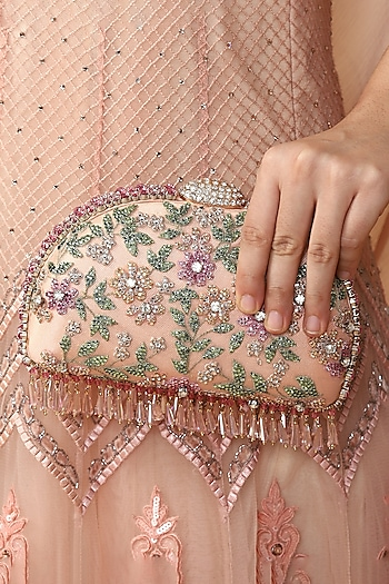Peach Hand Embroidered Clutch by Tarun Tahiliani