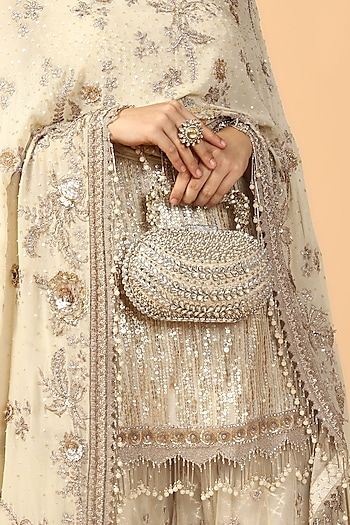Ivory Hand Embroidered Clutch by Tarun Tahiliani