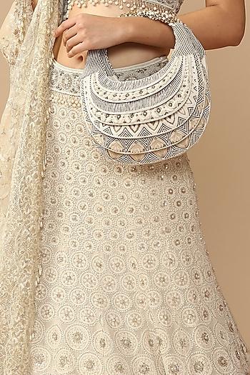 Ivory Hand Embroidered Potli by Tarun Tahiliani