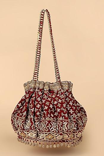 Ivory Bead Hand Embroidered Potli by Tarun Tahiliani