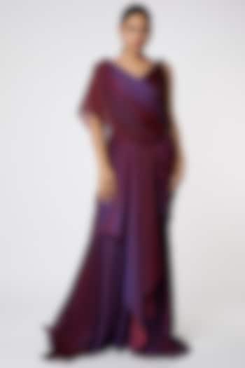 Purple Ombre Draped Concept Saree by Tarun Tahiliani