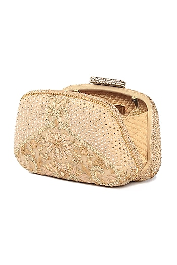 Beige Embroidered Clutch With Beaded Handle by Tarun Tahiliani