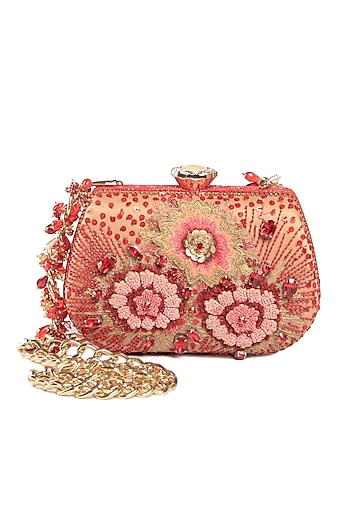 Red Hand Embroidered Clutch by Tarun Tahiliani