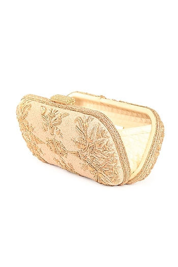 Gold Zardosi Hand Embroidered Clutch by Tarun Tahiliani