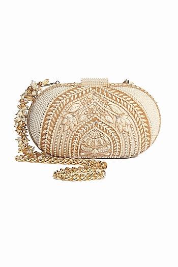 White Pearl Hand Embroidered Clutch by Tarun Tahiliani