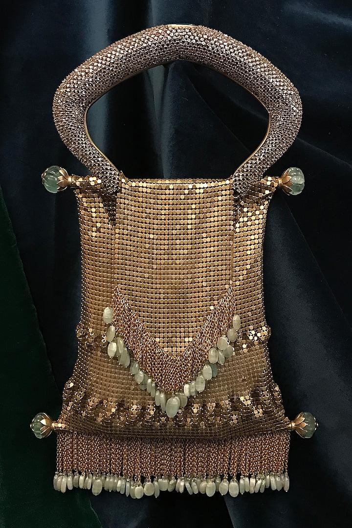 Gold Jewelled Handle Bag by Tarun Tahiliani