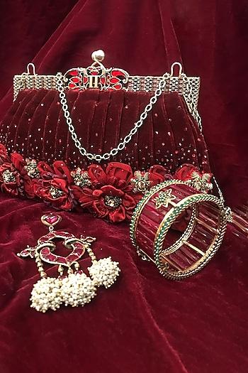 Gold Zircon Jewelled Handle Bag by Tarun Tahiliani