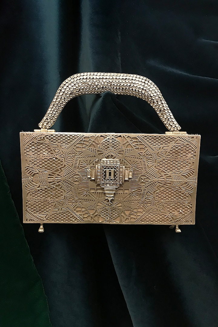 Gold Zircon Jewelled Bag by Tarun Tahiliani