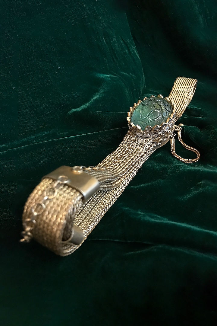 Gold Fluorite Stone Jewelled Belt by Tarun Tahiliani